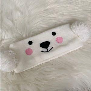 Girls polar bear headband ear covers new